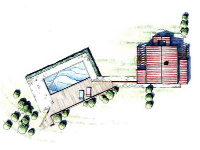 External plan of the renovated property with swimming pool